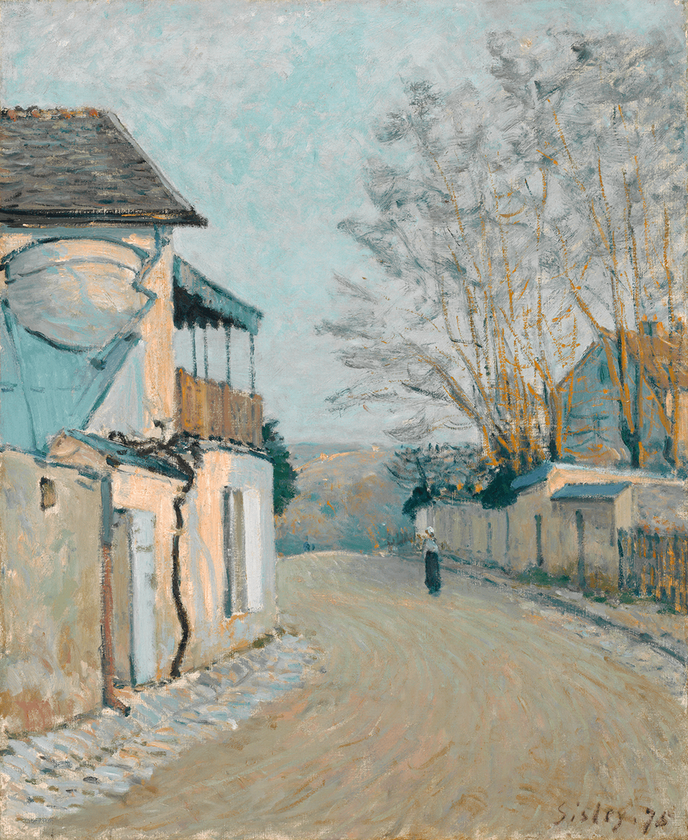 An unpaved road inhabited by a female figure. On the left is a two-story house. To the right, a slatted fence and low stone doorways line the road.