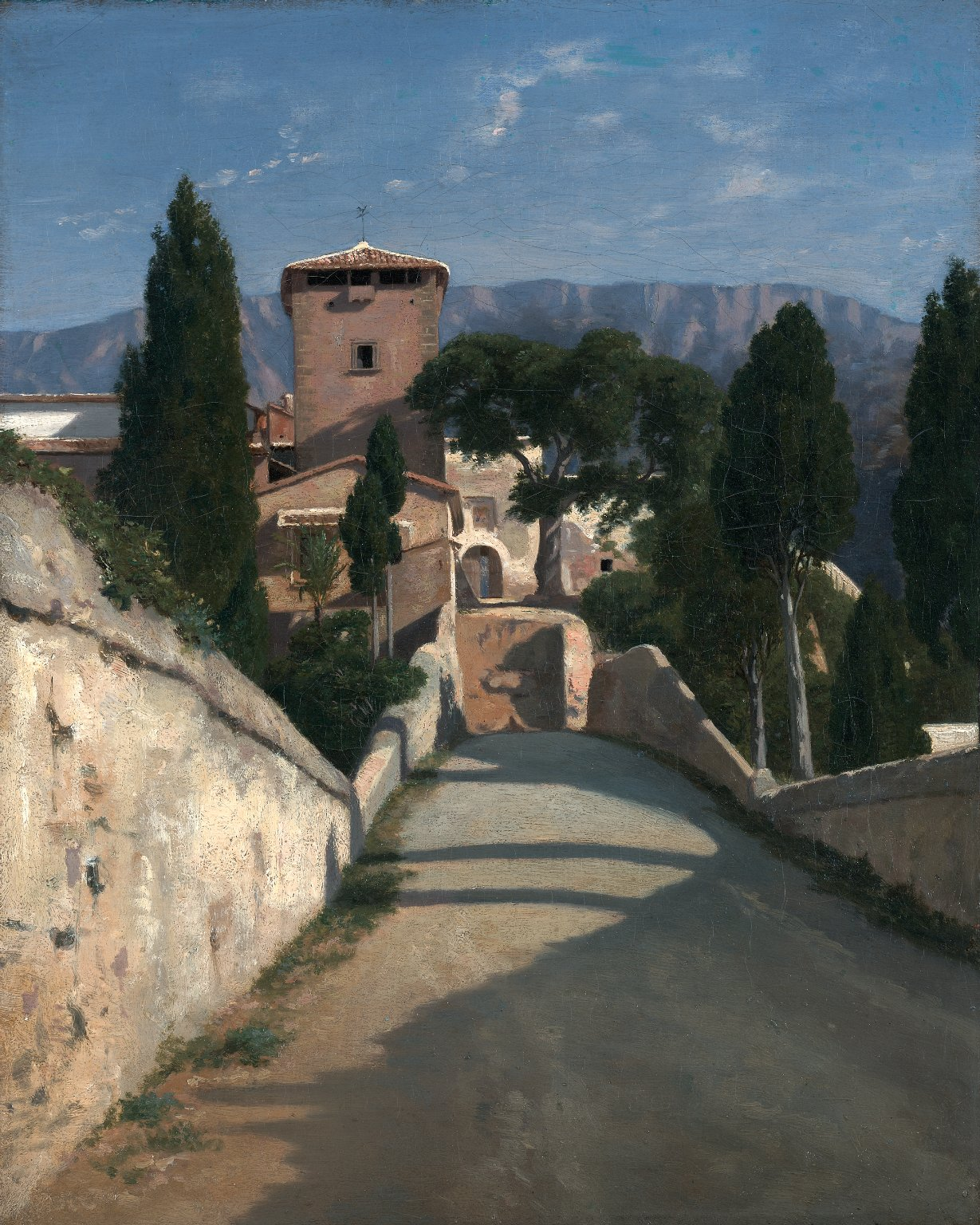 A poplar lined road leads down to a wall at the center of the canvas. A tower and a collection of buildings appear center with a background of mountains.