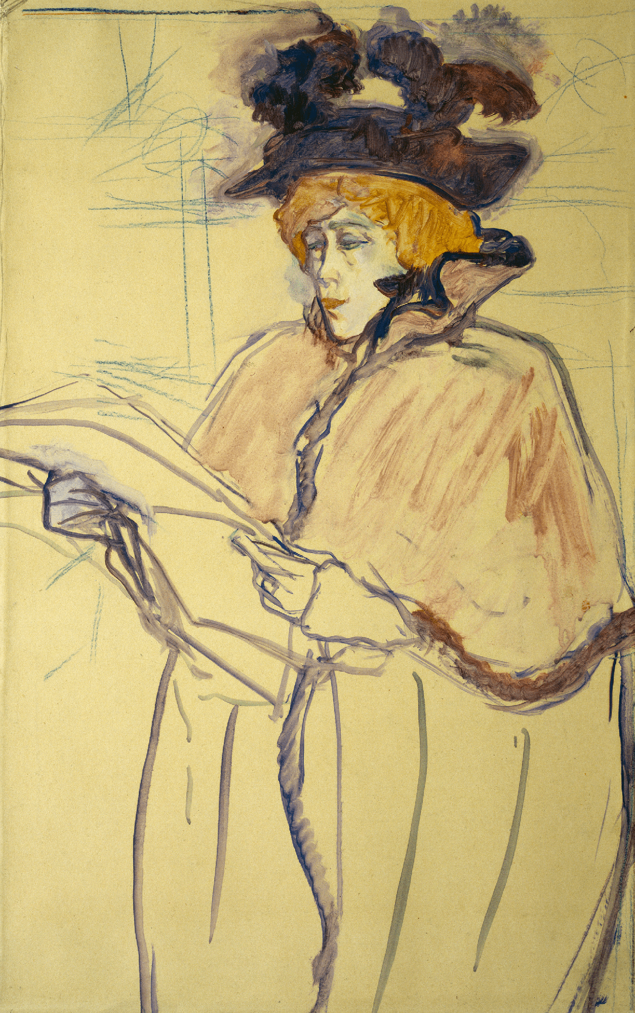 A redheaded woman seen in left profile looks intently at the large white sheets of paper she holds in her hands. Her hat, face, and cloak are filled in with pigment.