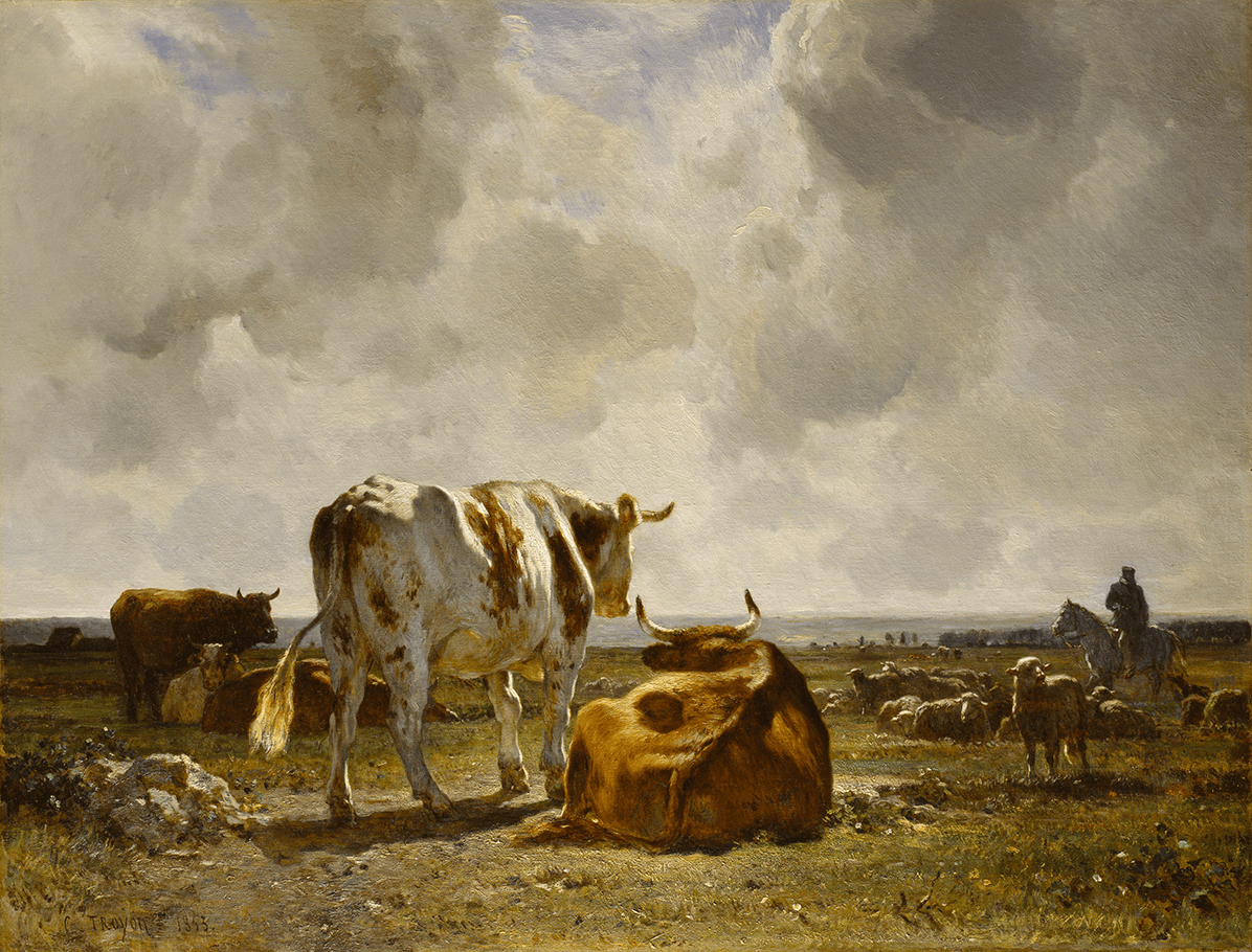 Group of cattle in flat meadow, gently sloping land toward; one animal standing to left center, silhouetted against the sky; flock of sheep, dog, and mounted shepherd to right.