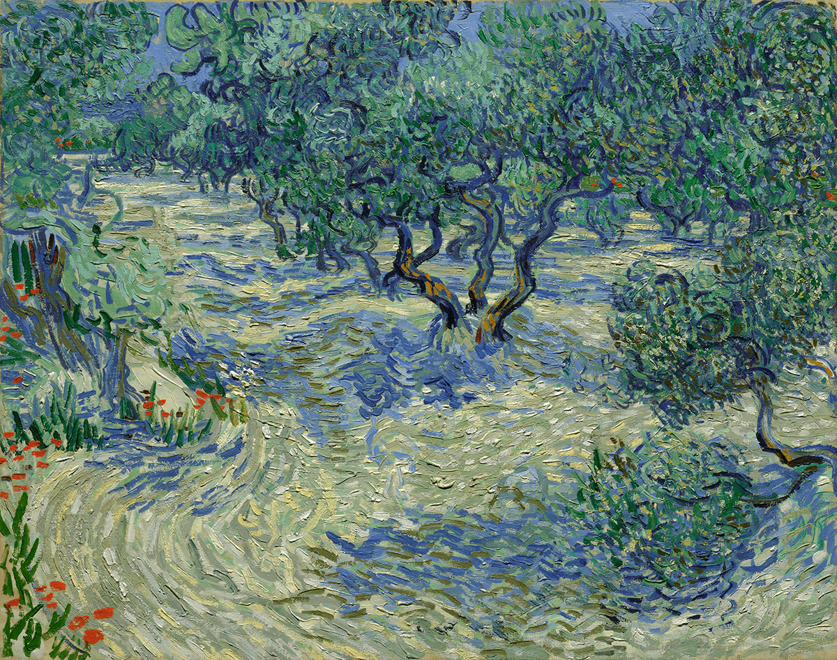 A group of stylized trees are set in a pale green landscape with blue and periwinkle shadows