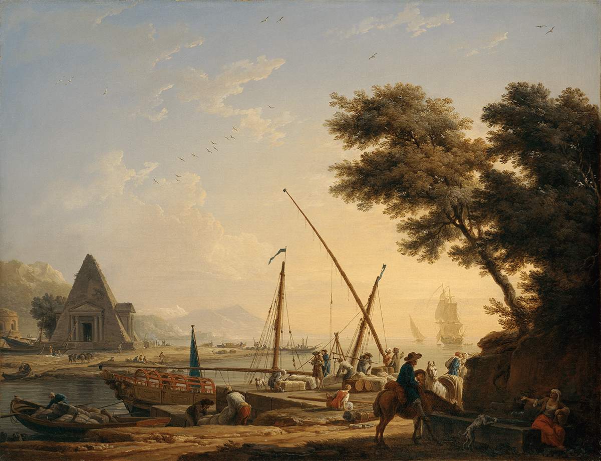 The shoreline and quayside are populated by exotic figures handling bales of merchandise on the Mediterranean, a sea bustling with trade.