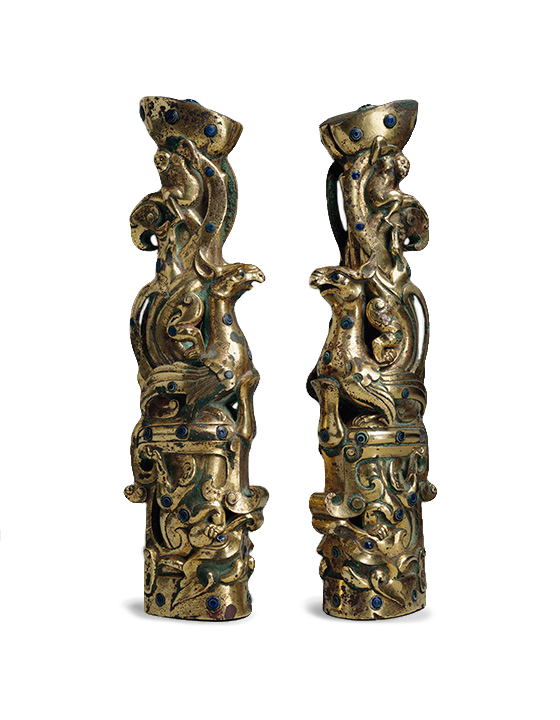 <em>Pair of Fittings</em>, type <em>zun</em>, Chinese, 3rd century B.C.E., Eastern Zhou Dynasty (771-256 B.C.E.).
