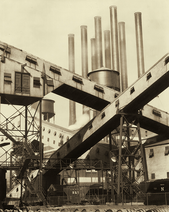 Charles Sheeler, American (1883-1965). <em>Criss-Crossed Conveyors–Ford Plant</em>, 1927.