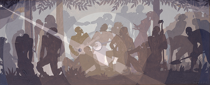 Aaron Douglas, <em>Study for Aspects of Negro Life: An Idyll of the Deep South</em>, 1934.