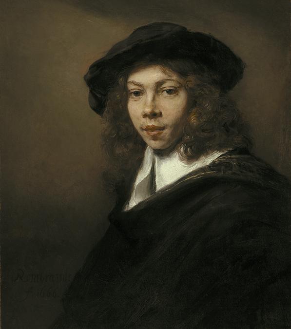 Rembrandt Harmensz. van Rijn, Dutch (1606-1669). <em>Young Man in a Black Beret</em>, 1666.
