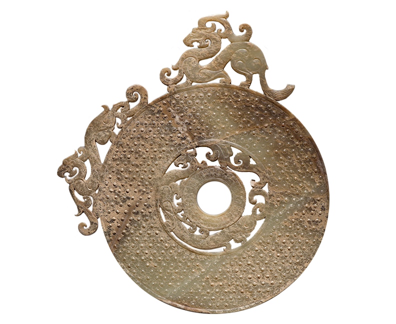 <em>Ritual Disc with Dragon Motifs, (Bi)</em>, Chinese, from Jincun, Henan Province, Eastern Zhou Dynasty (771-256 B.C.E.).