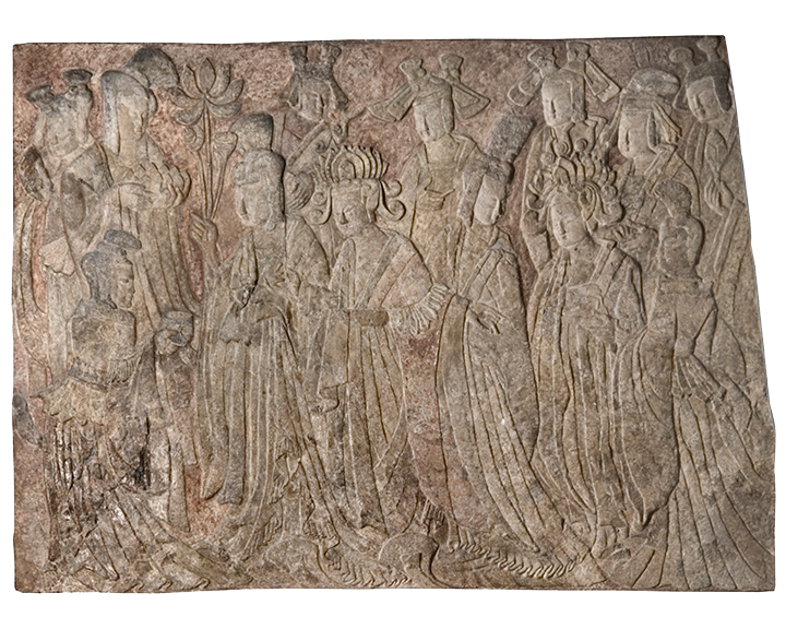 <em>Offering Procession of the Empress as Donor with Her Court</em>, Chinese, from Longmen, Binyang Central Cave, Henan Province, ca. 522 C.E., Northern Wei Dynasty