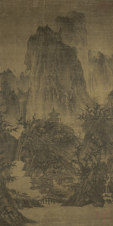Attributed to: Li Cheng, Chinese (919-967 C.E.) <em>A Solitary Temple Amid Clearing Peaks</em>, Northern Song Dynasty (960-1127).