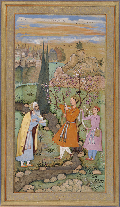 Salim Quli, Indian (active ca. 1590-1605), attributed to Lal, Indian (active ca. 1590-1605), Calligrapher: Fakir Ali, Indian (active ca. 1590-1605). <em>Leaf from the Muraqqa Gulshan: The Poet and the Prince</em> (recto) <em>Calligraphy</em> (verso), 1595-1597, Agra or Allahabad (Mughal), Akbar period (1556-1605).