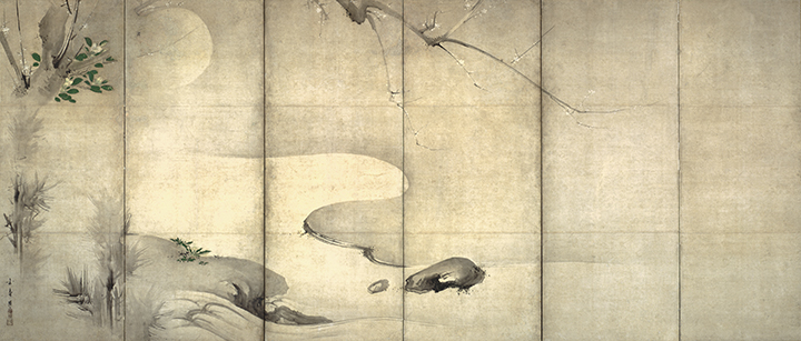 Kaihô Yûshô, Japanese (1533-1615). <em>Pine and Plum by Moonlight</em>, Momoyama Period (1568-1615).