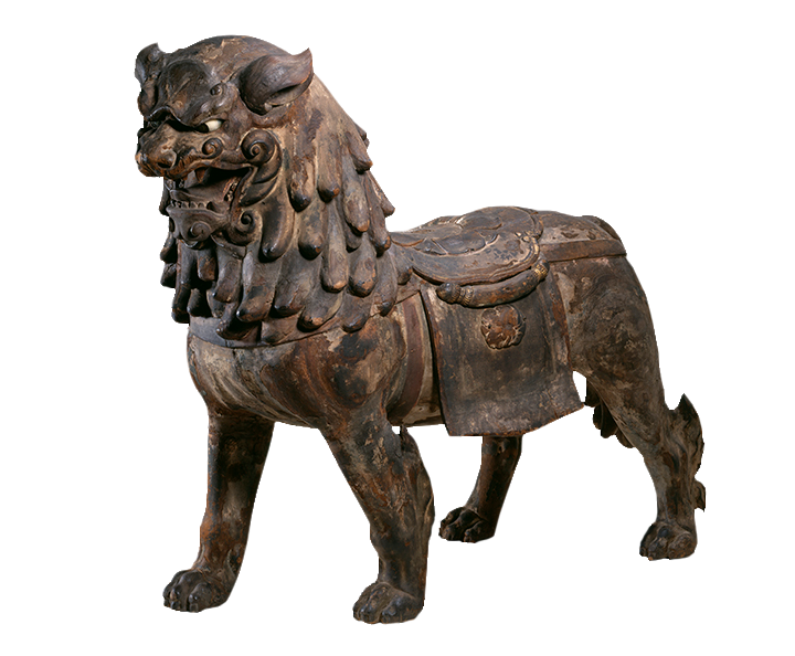 <em>Striding Lion: Mount for the Buddhist Deity Monju</em>, Mid-13th century. Japanese.