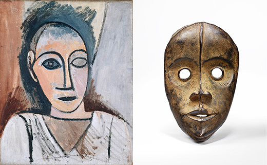 Picasso painting and an African mask