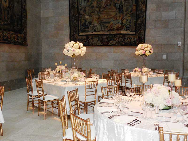 Tables Decorated For Wedding Reception In Kirkwood Hall
