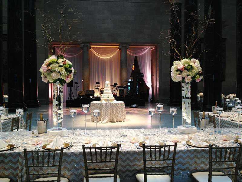 Tables and decorations for wedding reception in Kirkwood Hall