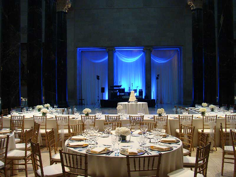 Kirkwood Hall decorated for a wedding