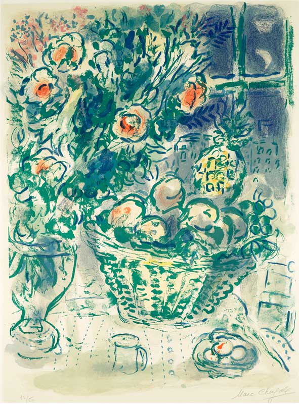 Basket of Fruit and Pineapples by Marc Chagall