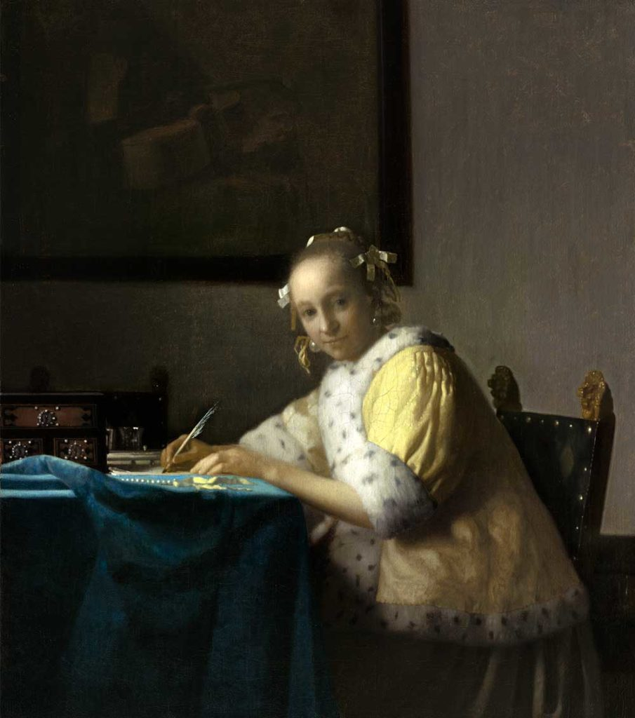 A Lady Writing by Johannes Vermeer