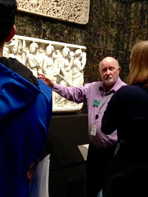 Docent tour in ancient gallery