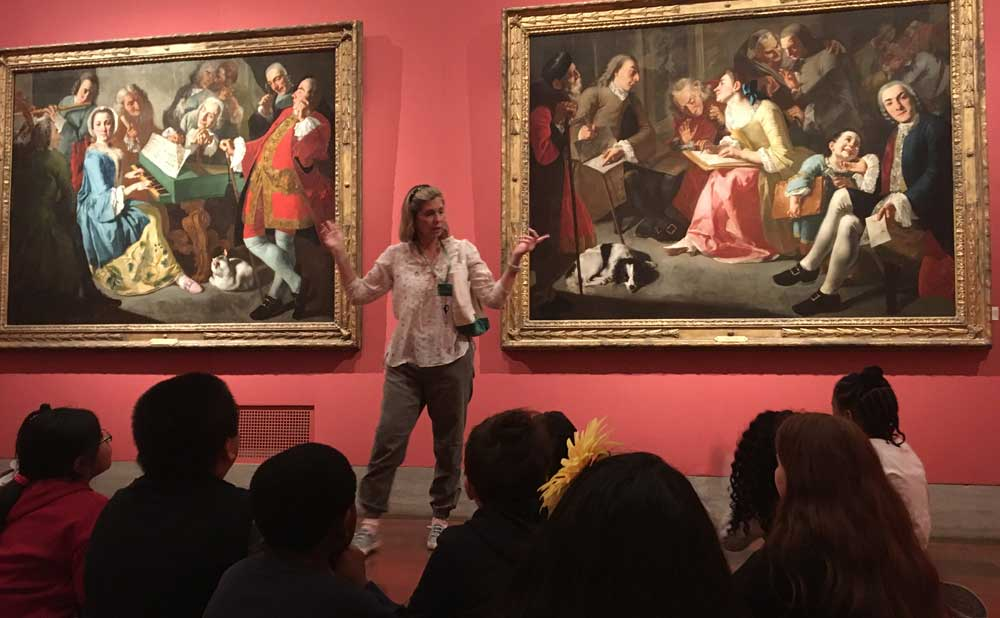 Docent in European gallery