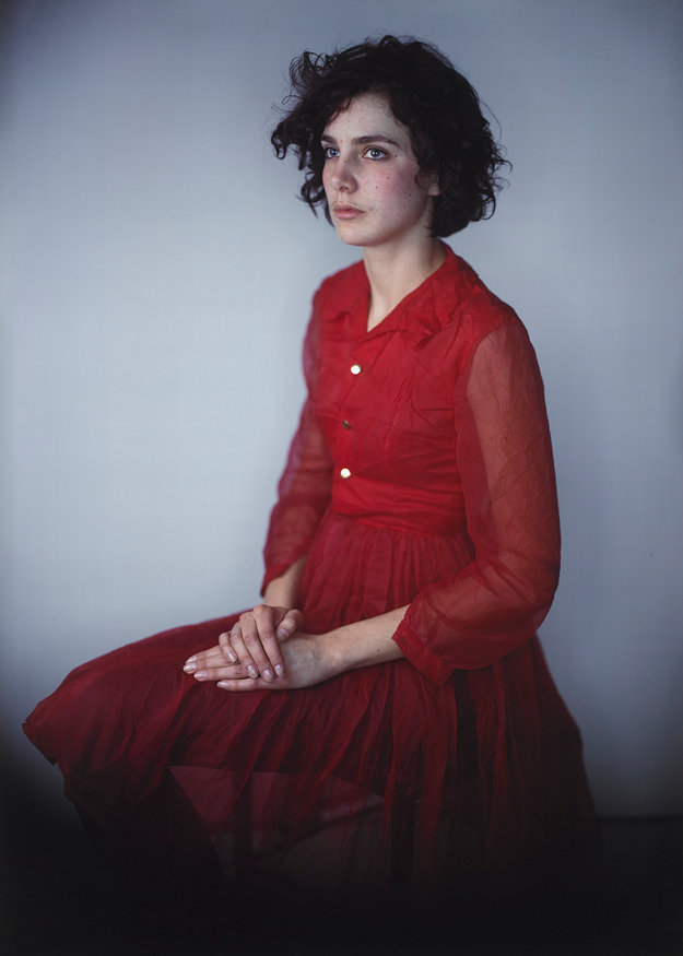 Agnes in Red Dress by Richard Learoyd