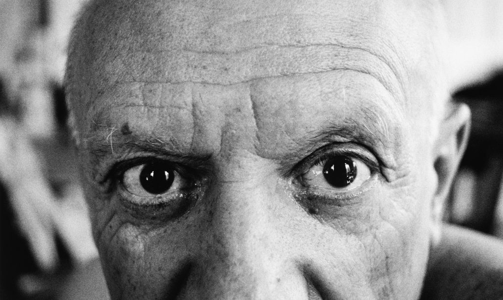 Close up image of Picasso's eyes. Photo by David Douglas Duncan.