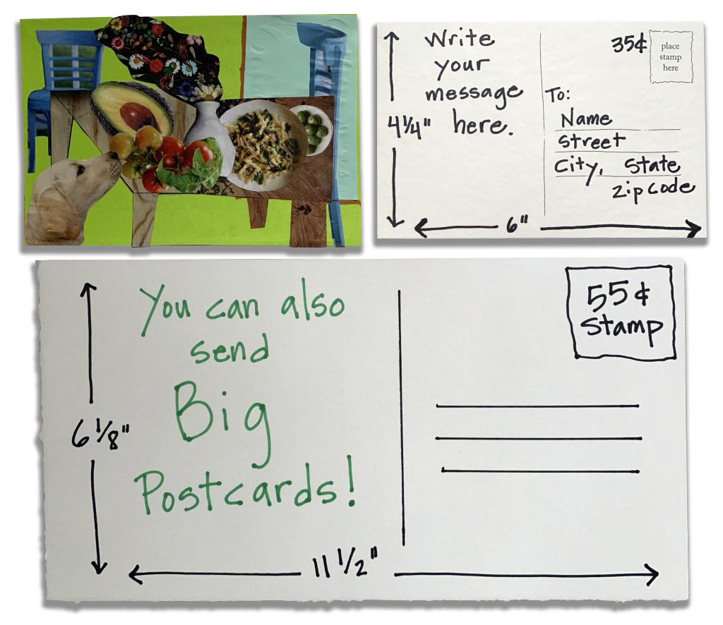"""drawings depicting possible postcard sizes: 4.5"""" x 6"""" or 6.125"""" x 11.5"""""""