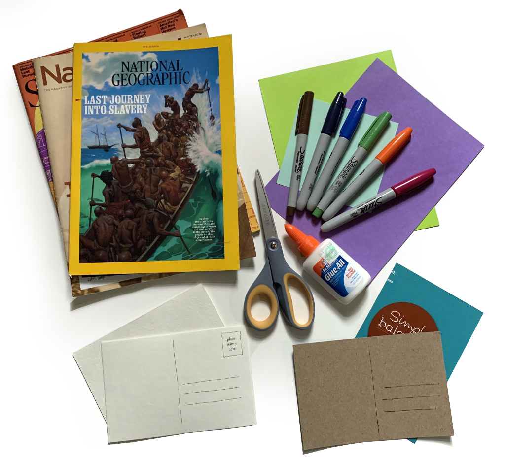 Sample supplies for postcard making