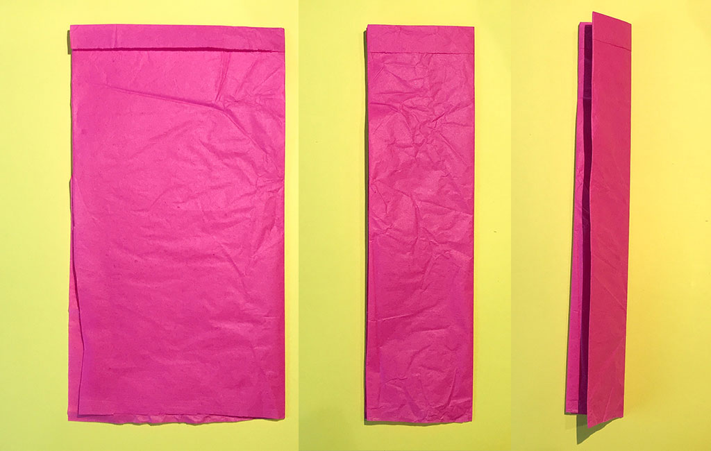 Image depicting the tissue paper being folded in half and then in half once more