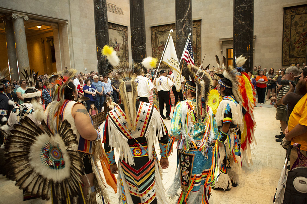 A multi-Tribal group of dancers from Haskell Indian Nations University and Veterans Color Guard assemble at the fourth annual Native American Cultural Celebration at the Nelson-Atkins in 2019.
