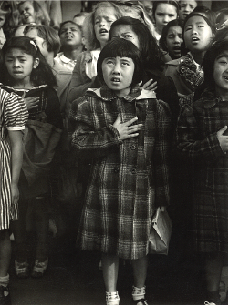 Pledge of allegiance at Raphael Weill Elementary School