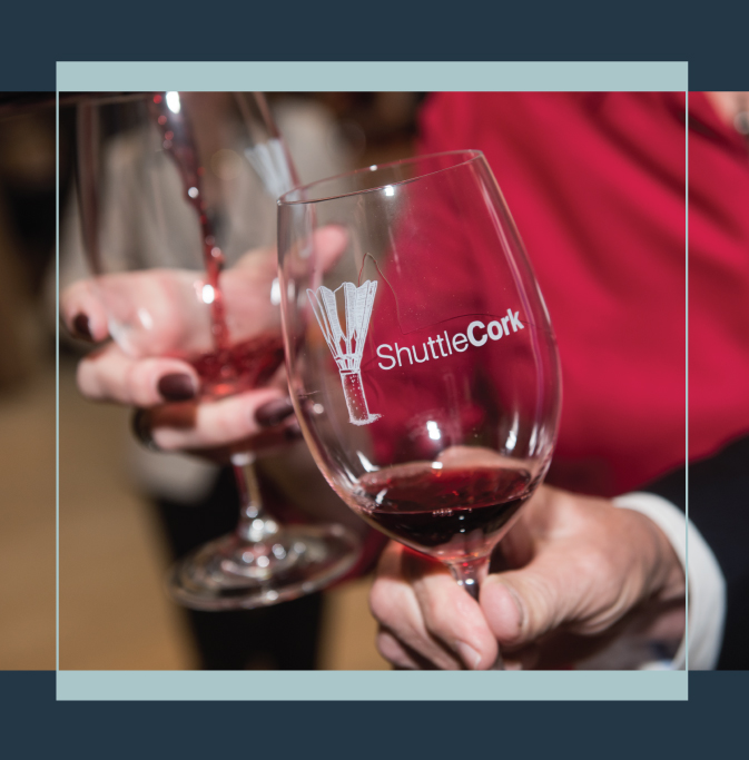 Shuttlecork logo wine glasses